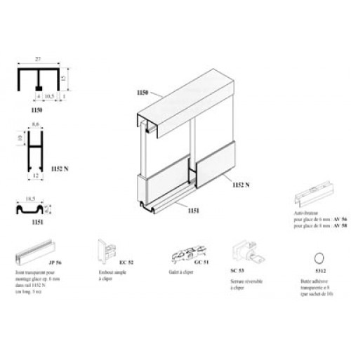 Rail et accessoires pour vitrine ferrures de porte for Glissieres pour portes coulissantes