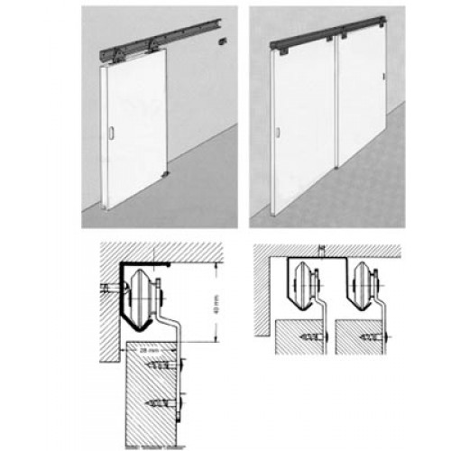 Ferrures 550 pour portes de meubles rail alu de 20 30 kg for Glissieres pour portes coulissantes