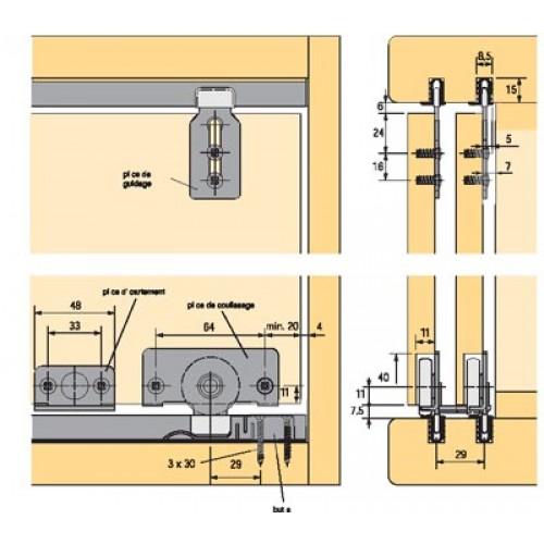 Hettich ferrure de porte coulissante slide line 56 for Glissieres pour portes coulissantes