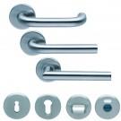 Ensembles inox monobloc avec ressort de rappel + rosaces rondes (à trou de clé Réf 326974B - cylindre profilé Réf 326974C - voyant WC Réf 326974D) - Ligne EST