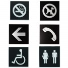 Réf 332701 - défense de fumer / 332704 - interdit aux chiens / 332702 - flèche / 332705 - téléphone / 332703 - handicapé / 332706 - toilettes h/f