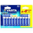12 Piles alcalines AA - LR6 Varta High Energy (dont 4 gratuites)